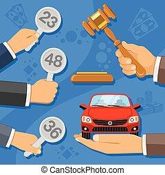Sale at Auction Car - Auction and bidding concept. ...
