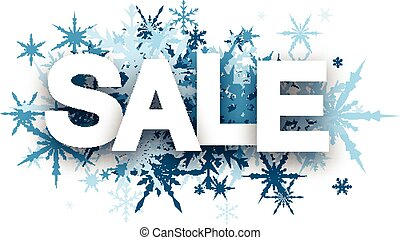 Sale background with blue snowflakes.