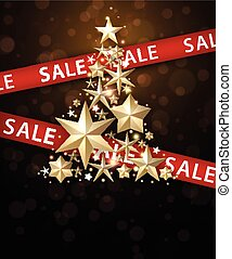 Sale background with Christmas tree.