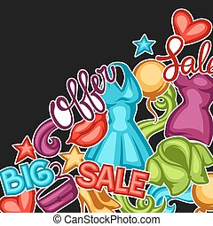 Sale background with female clothing and accessories