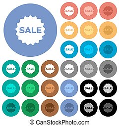 Sale badge round flat multi colored icons