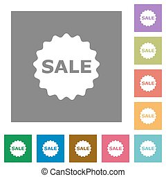 Sale badge square flat icons