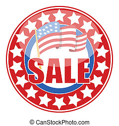 Sale Badge Sticker with USA Flag