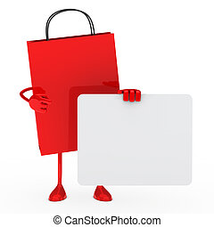 red sale bag hold a white billboard