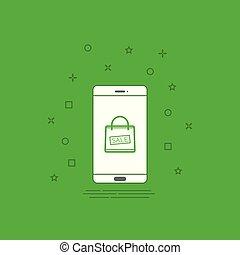 sale bag icon on smartphone screen design template Vector illustration