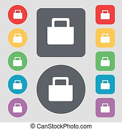 sale bag icon sign. A set of 12 colored buttons. Flat design. Vector