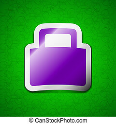 sale bag icon sign. Symbol chic colored sticky label on green background.