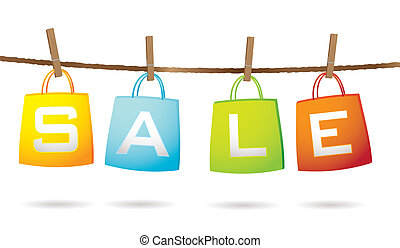 Four colorful shopping bags hanging on a washing line with sale text