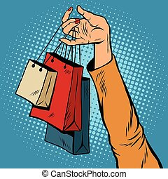 Sale, bags packages in the hands of women