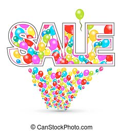 sale., ballons, coloré, vector.