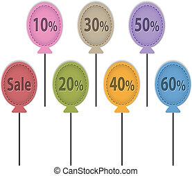 Sale balloon labels