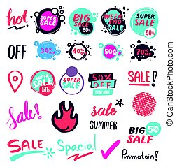 Sale banner collection drawn style.