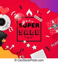 Sale banner design template. Color geometric background