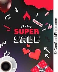 Sale banner design template. Color geometric vertical background