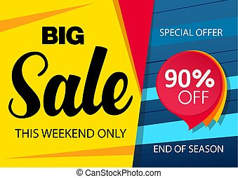 Sale banner design template with red sticker