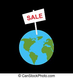 Sale banner earth planet. selling World Vector illustration