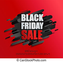Sale banner for black friday on red background