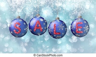 Sale banner on blue Christmas balls with round snow flake on bokeh background. 4K