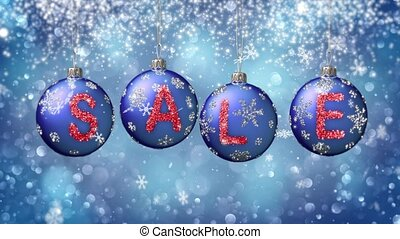 Sale banner on blue Christmas balls with round snow flake on...