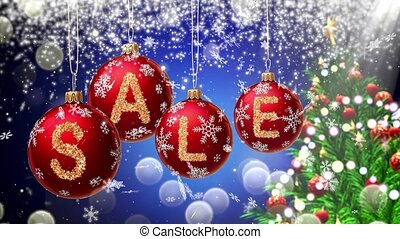 Sale banner on red Christmas balls with round snow flake on bokeh background. 4K 3d rendering