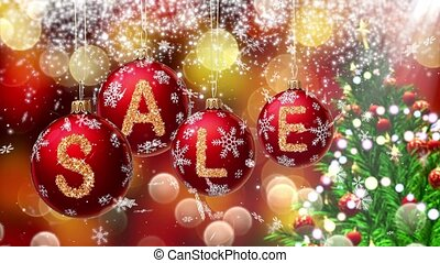 Sale banner on red Christmas balls with round snow flake on...