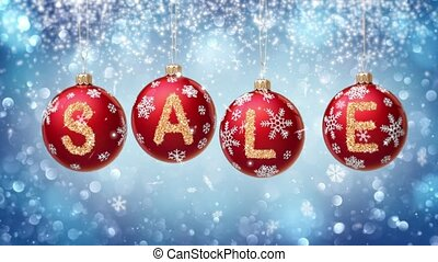 Sale banner on red Christmas balls with round snow flake on bokeh background. 4K