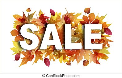 Sale banner on white background with bright autumn foliage. Leaves of maple, oak, sycamore and chestnut