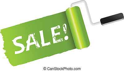 Sale Banner, Paint Roller, Isolated On White Background, Vector Illustration
