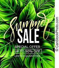 Sale banner, poster with palm leaves, jungle leaf and...