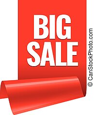 Sale banner. Realistic Red Glossy paper ribbon