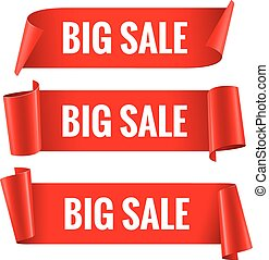 Sale banner. Realistic Red Glossy paper ribbon - Sale banner...