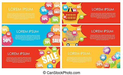 Sale Banner Set with Place for Your Text. Vector Illustration