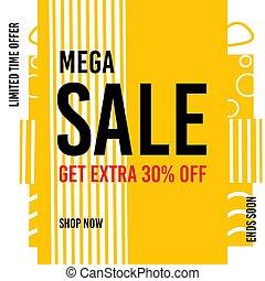 Sale banner template design. Mega Sale. Get extra 30% off. Limited offer. Shop now. Vector illustration.