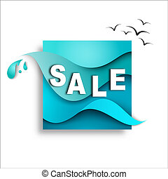 Sale banner template design on the background of sea waves. Paper illustration