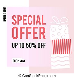 Sale banner template design. Special offer. Up to 50% off. Limited offer. Shop now. Vector illustration.