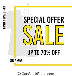 Sale banner template design. Special offer. Up to 70% off. Limited offer. Shop now. Vector illustration.