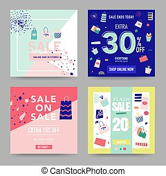 set of sale posters or flyers design discount background for the
