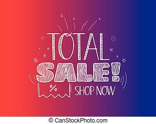 Sale banner vector template. Total sale concept. Shop now
