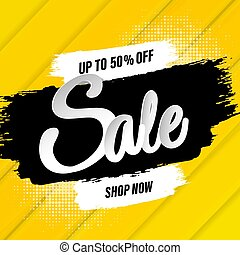 Sale Banner With Blots