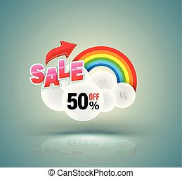 Sale banner with cloud and rainbow.