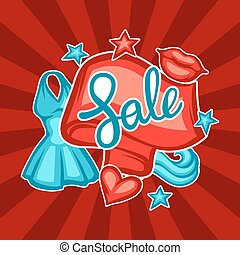 Sale banner with female clothing and accessories