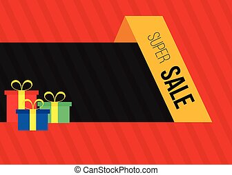 Sale banner with gift boxes
