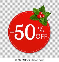 Sale Banner With Holly Berry Transparent Background