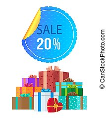 Sale Banner with Various Gifts Vector Illustration
