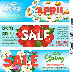 Sale banners of springtime vector floral design
