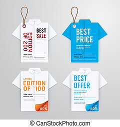 Sale banners price tag paper card template shirt origami collection. vector