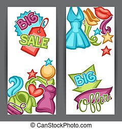 Sale banners with female clothing and accessories