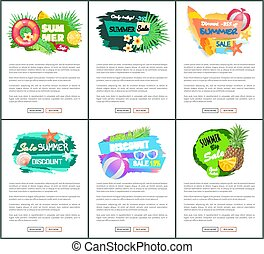 Sale Banners with Pineapple, Watermelon, Orange