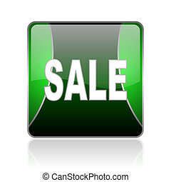sale black and green square web glossy icon