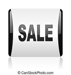 sale black and white square web glossy icon